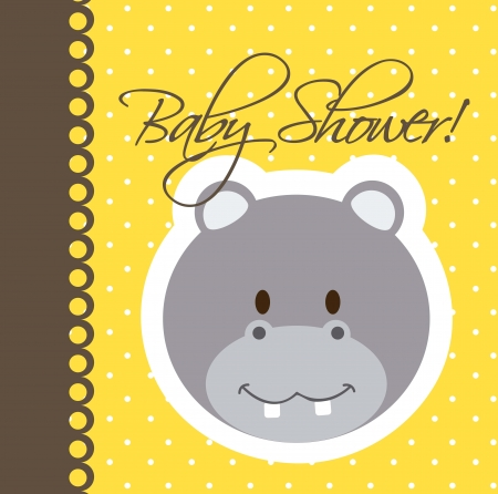 baby shower card with hippo. vector illustration Vector