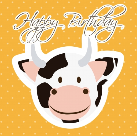 bappy birthday card with cow cartoon. vector illustration Stock Vector - 16997310