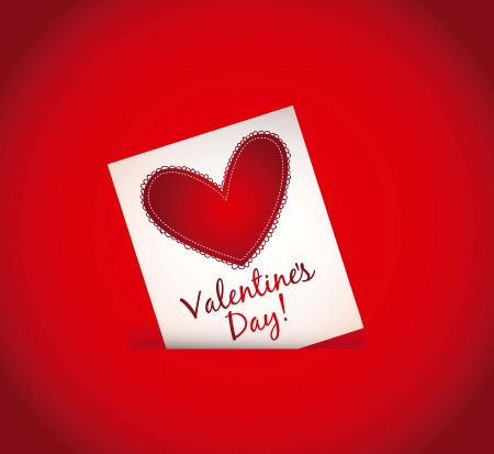 valentines day card over red background. vector illustration Stock Vector - 16997405