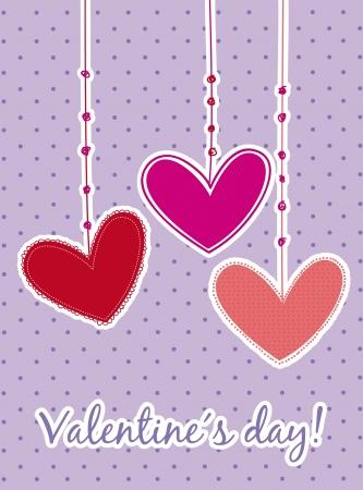 valentines day card over violet background. vector illustration Stock Vector - 16997633