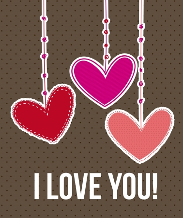 valentines day card over brown background. vector illustration Stock Vector - 16997624