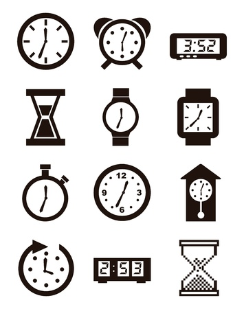 seconds: clock icons over white background. vector illustration