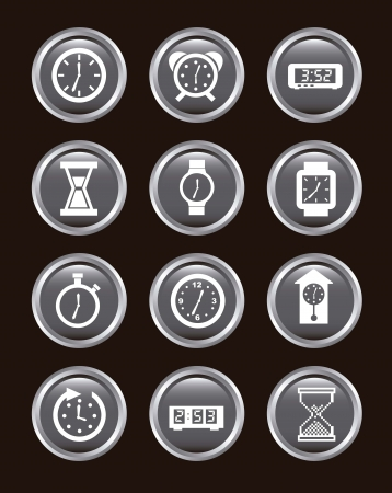 clock icons over black background. vector illustration Stock Vector - 16996935