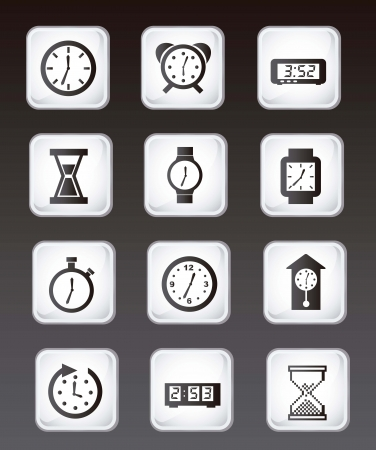 clock icons over black background. vector illustration  Stock Vector - 16997000