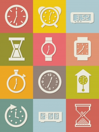 clock icons over vintage background. vector illustration Stock Vector - 16996948