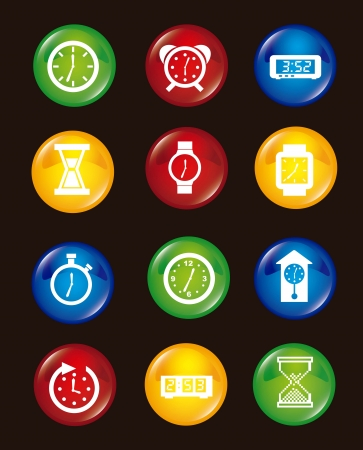 clock icons over black background. vector illustration Vector