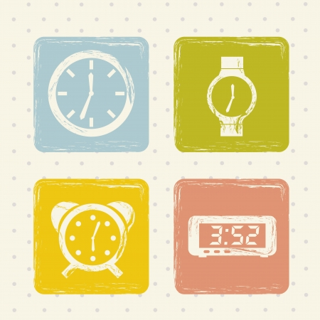 clock icons over beige background. vector illustration Stock Vector - 16997703