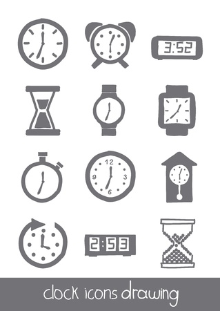 clock icons over white background. vector illustration Vector