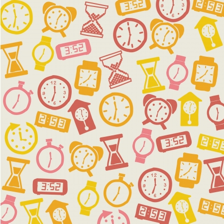 clock icons over beige background. vector illustration Stock Vector - 16997350