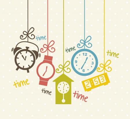el tiempo: iconos de reloj sobre fondo beige. ilustración vectorial