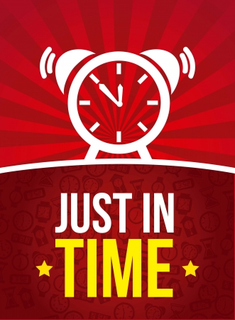 time over: clock over red background, just in time. vector