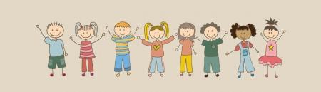 children drawing over beige background. vector illustration Vector