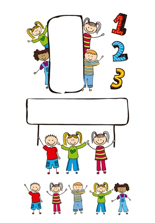 children drawing over white background. vector illustration Stock Vector - 16997363