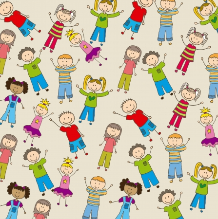 children drawing over beige background. vector illustration Vector