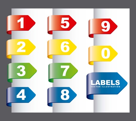 labels with numbers over gray background. vector illustration Stock Vector - 16997545