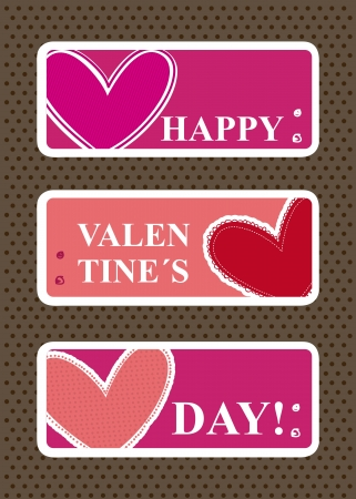 valentines day labels over brown background. vector Stock Vector - 16997553