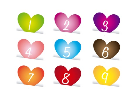 labels of hearts over white background, numbers. vector  Stock Vector - 16996951