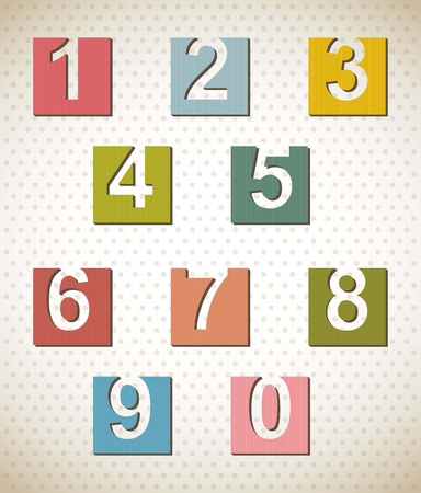labels with numbers over beige background. vector illustration Stock Vector - 16997516