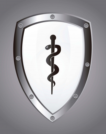 caduceus sign over white shield. vector illustration Stock Vector - 16996895