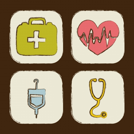 medical icons over brown background. vector illustration Vector