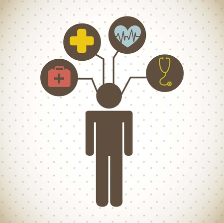 medical icons over vintage background. vector illustration Stock Vector - 16997256