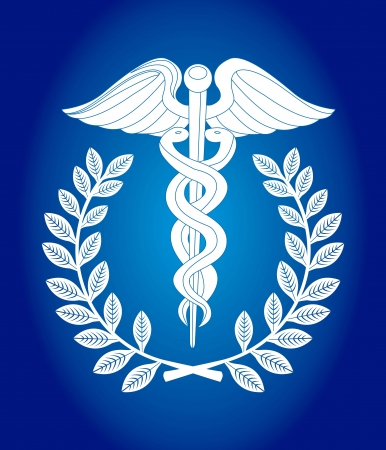 caduceus snake with stick: caduceus sign over blue background. vector illustration