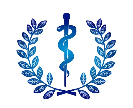 caduceus snake with stick: caduceus sign over white background. vector illustration