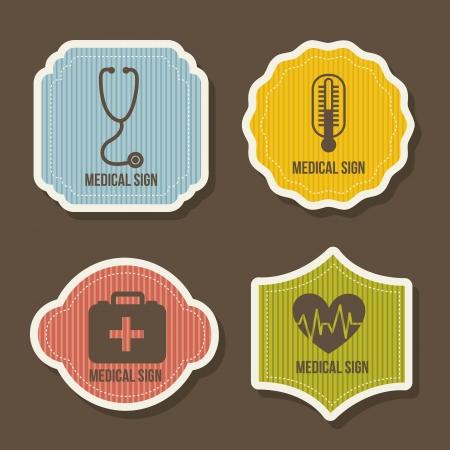 symbole chimique: ic�nes m�dicaux sur fond brun. illustration vectorielle