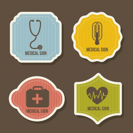 pharmacy symbol: medical icons over brown background. vector illustration Illustration