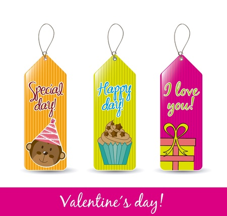colorful valentines labels over white background. vector Stock Vector - 16997604