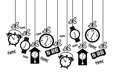 orologio da parete: Icone orologio su sfondo bianco. illustrazione vettoriale