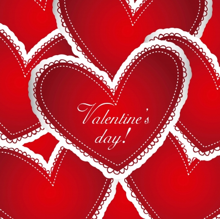 red hearts background, valentines day. vector illustration Stock Vector - 16997517