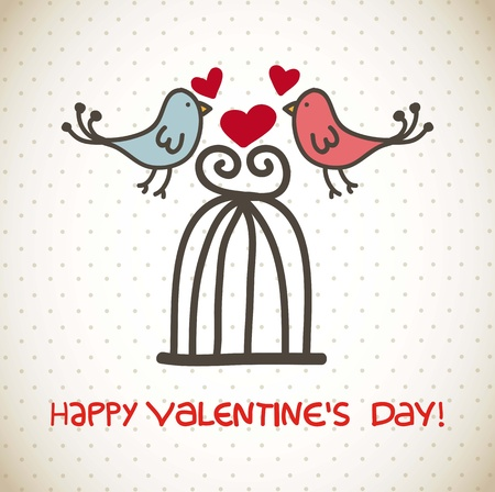 happy valentines day card over vintage background. vector Stock Vector - 16997177