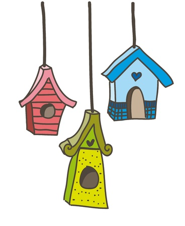 cute bird houses over white background. vector illustration Vector
