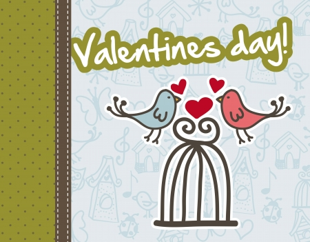 happy valentines day card over blue background. vector Stock Vector - 16997347