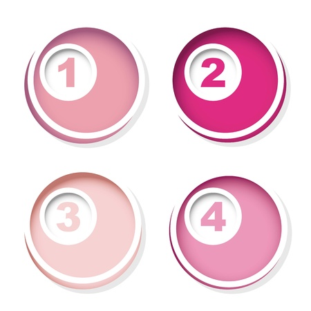 pink numbers over circles with shadow background. vector illustration Stock Vector - 16996644