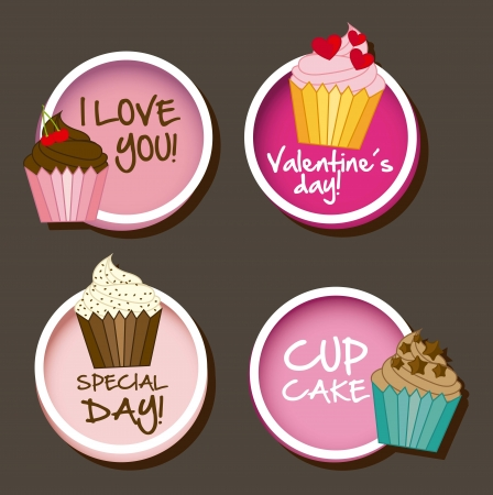 muffin: valentines day card over gray background. vector illustration Illustration