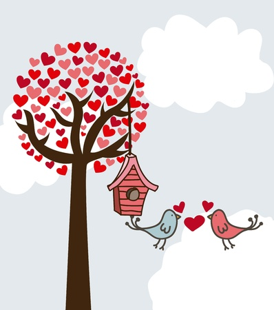 happy valentines day card over sky background. vector Stock Vector - 16996713