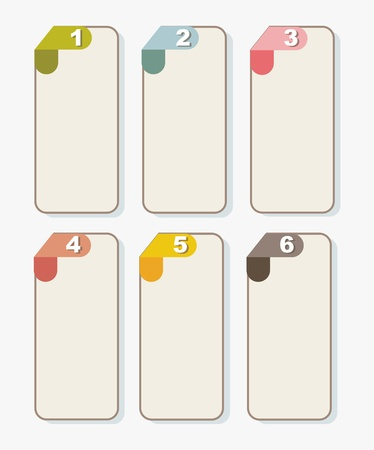 labels with numbers over beige background. vector illustration