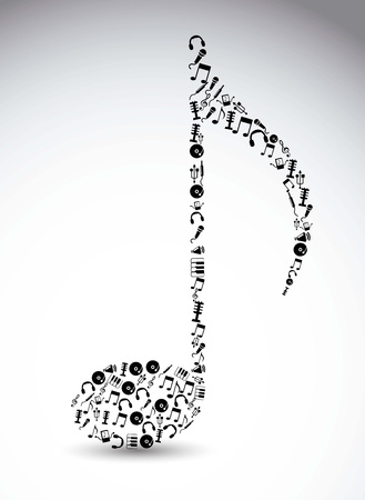 on records: music icons over white background. vector illustration