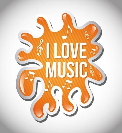 quavers: love music illustration over splash background. vector Illustration