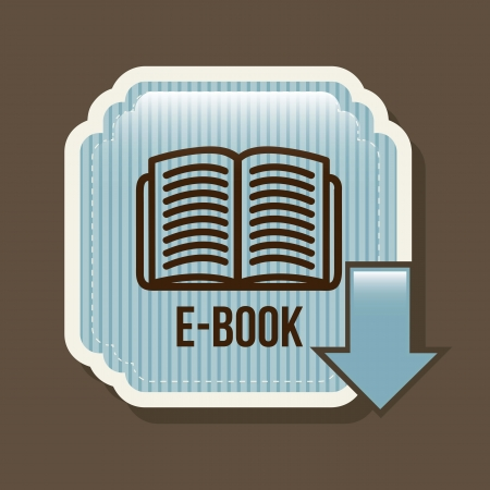e book button over brown background. vector illustration