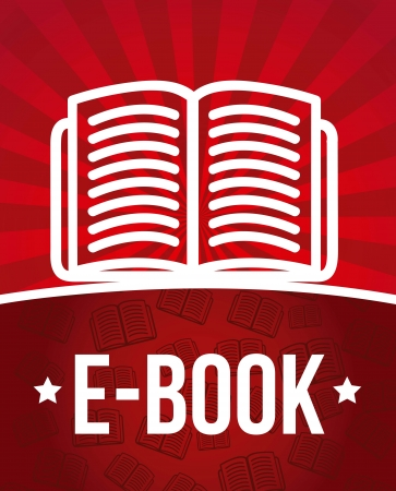 audiobook: e book announcement over red background. vector illustration