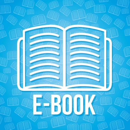 e book icon over blue background. vector illustration