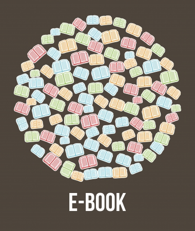 e book button brown background. vector illustration Vector