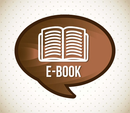 e book icon over vintage background. vector illustration Vettoriali