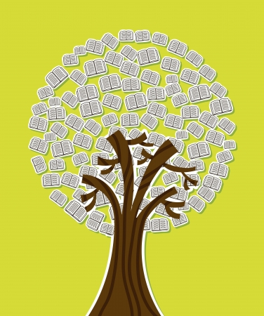 grammatical: tree with books over green background. vector illustration