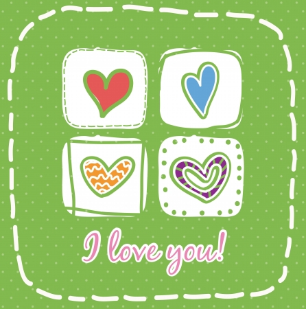 valentines day card over green background. vector illustration Stock Vector - 16997186