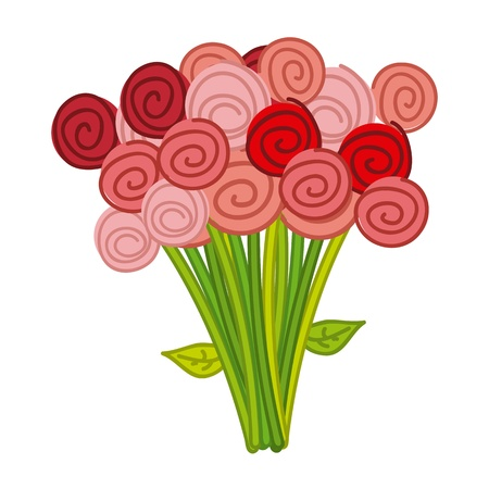 love picture: cute roses over white background. vector illustration