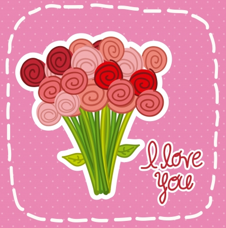 bouquet flowers: valentines day card over pink background. vector illustration Illustration